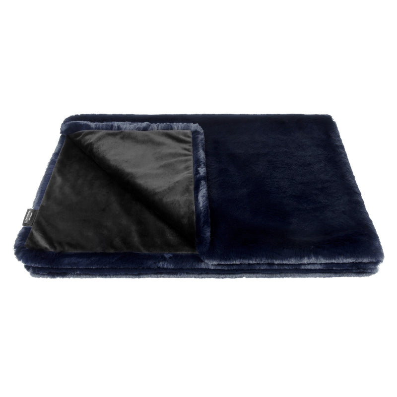 Dark blue cloud faux fur comforter throw by Helen Moore
