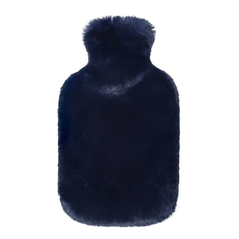Dark blue cloud faux fur hot water bottles- Available in 2 Sizes by Helen Moore