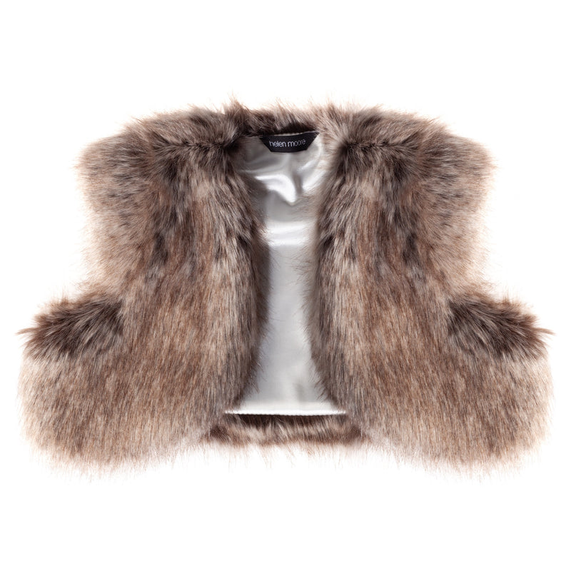 Children's light brown Truffle faux fur bolero cover-up by Helen Moore