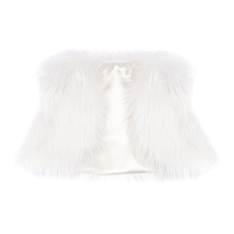Children's white faux fur bolero cover-up by Helen Moore
