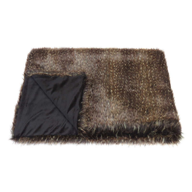 Brown flecked faux fur comforter throw by Helen Moore