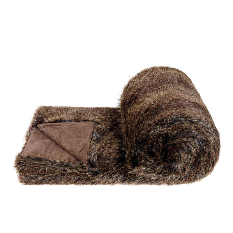 A brown flecked faux fur bed runner by Helen Moore