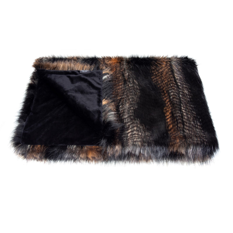 Black, brown and white feather textured faux fur comforter throw by Helen Moore