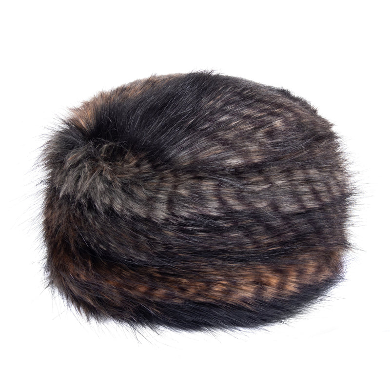 Brown, black and white feathr texture faux fur pillbox hat by Helen Moore