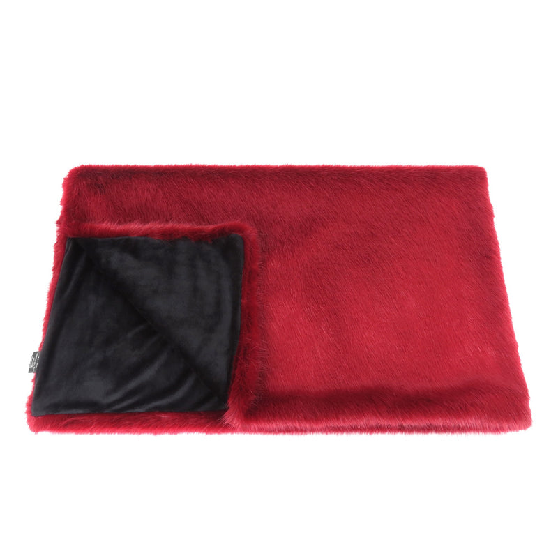 Crimson red faux fur comforter throw by Helen Moore