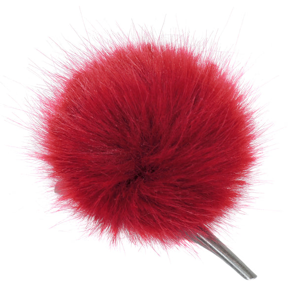 Crimson red faux fur pom pom hair clip by Helen Moore