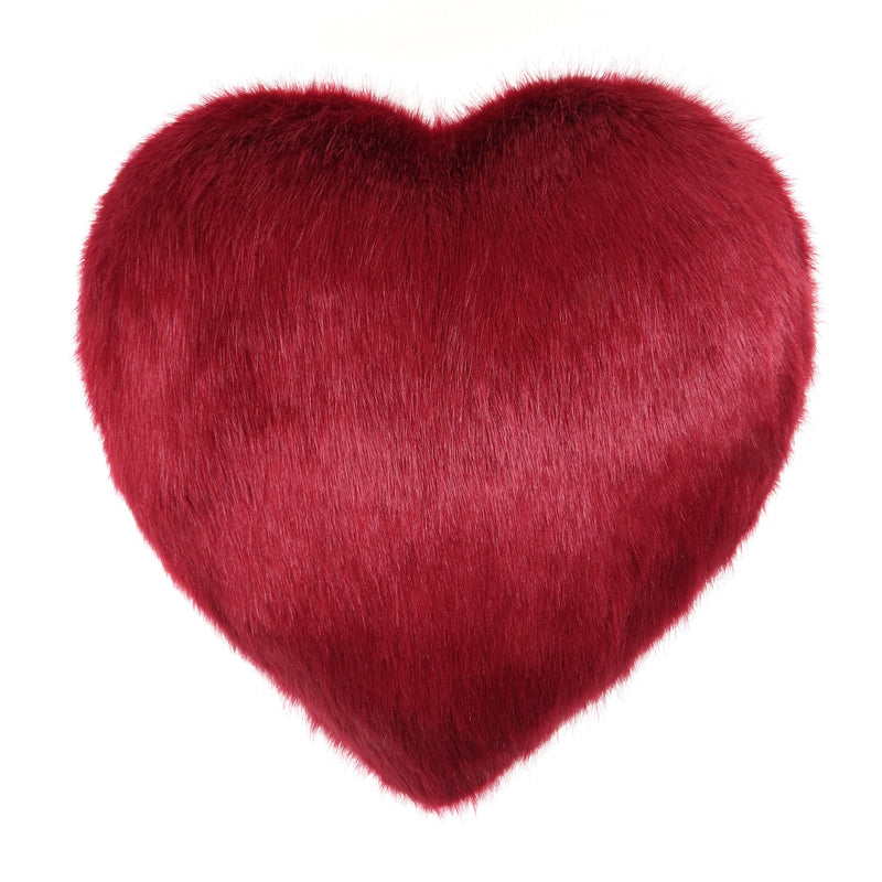 Red faux fur heart  shaped cushion by Helen Moore