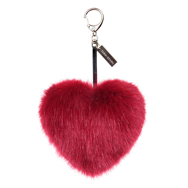 Faux fur heart pom pom key ring by Helen Moore