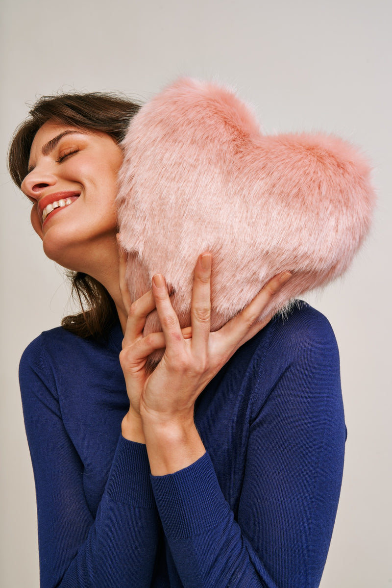 Faux fur heart cushion by Helen Moore