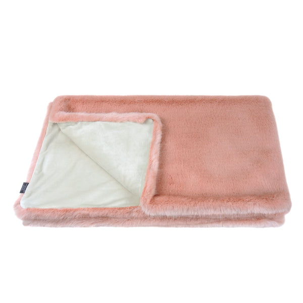 Dusky pink faux fur comforter throw by Helen Moore
