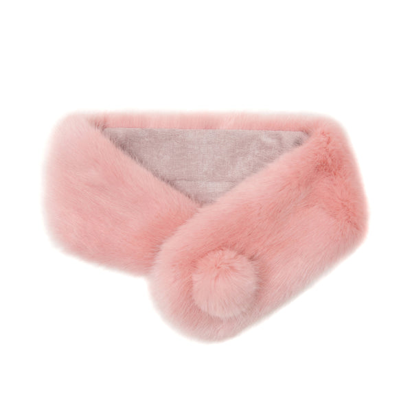 Dusky pink faux fur pom pom button collar by Helen Moore