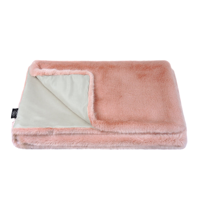 Dusky pink faux fur throw by Helen Moore