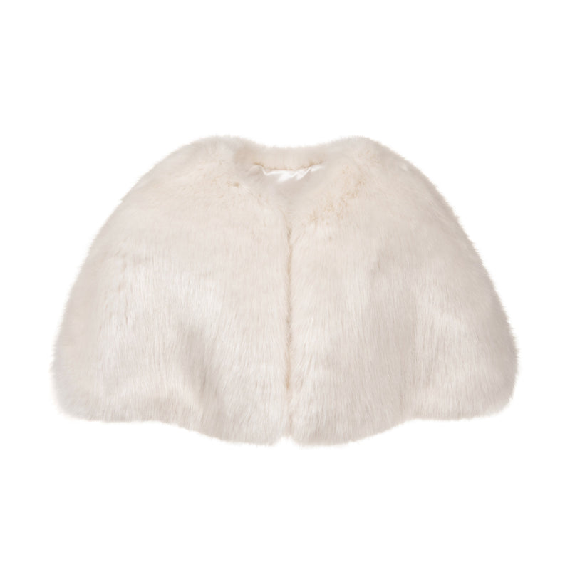 Children's ivory cream faux fur short cape for weddings and holy communion by Helen Moore
