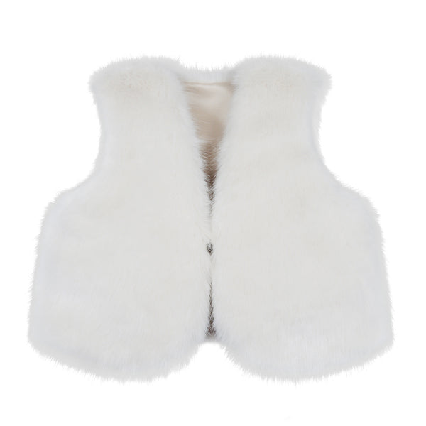 Children's cream faux fur waistcoat /vest by Helen Moore