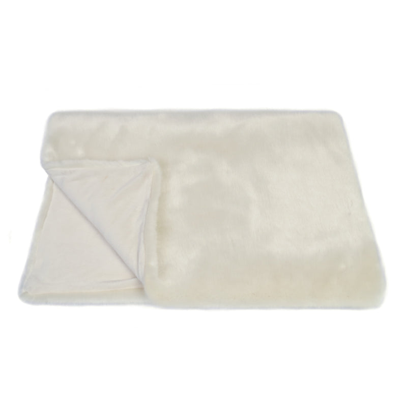 Cream faux fur comforter throw by Helen Moore
