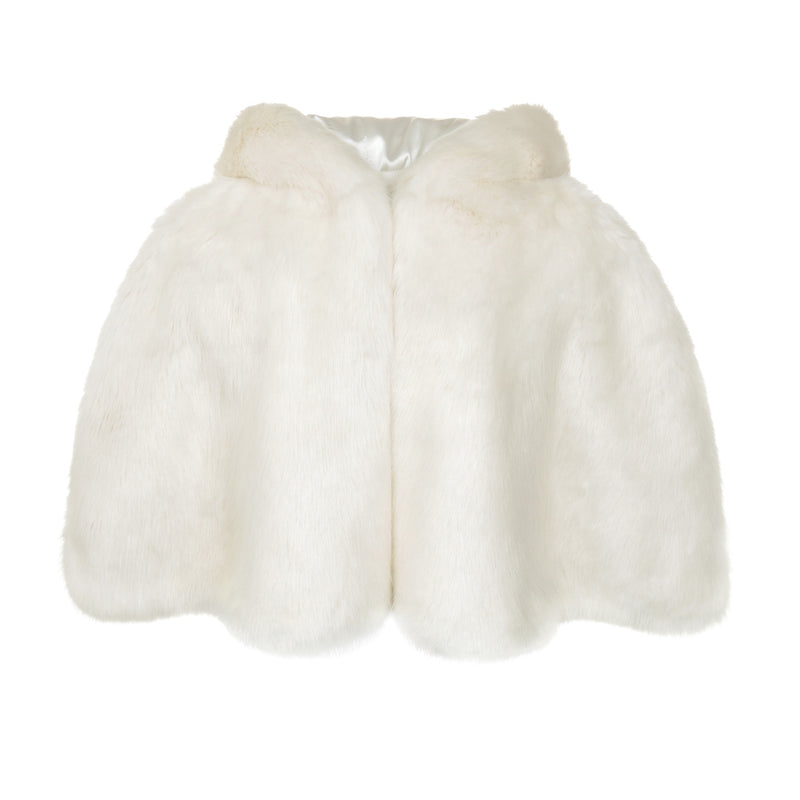 Cream faux fur hooded swing cape by Helen Moore