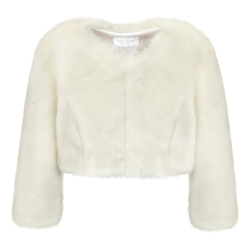 Cream faux fur short  wedding jacket by Helen Moore