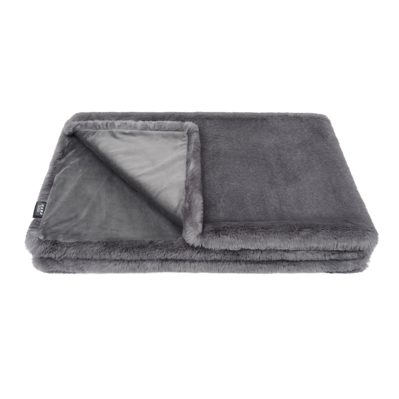 Grey cloud faux fur comforter throw by Helen Moore