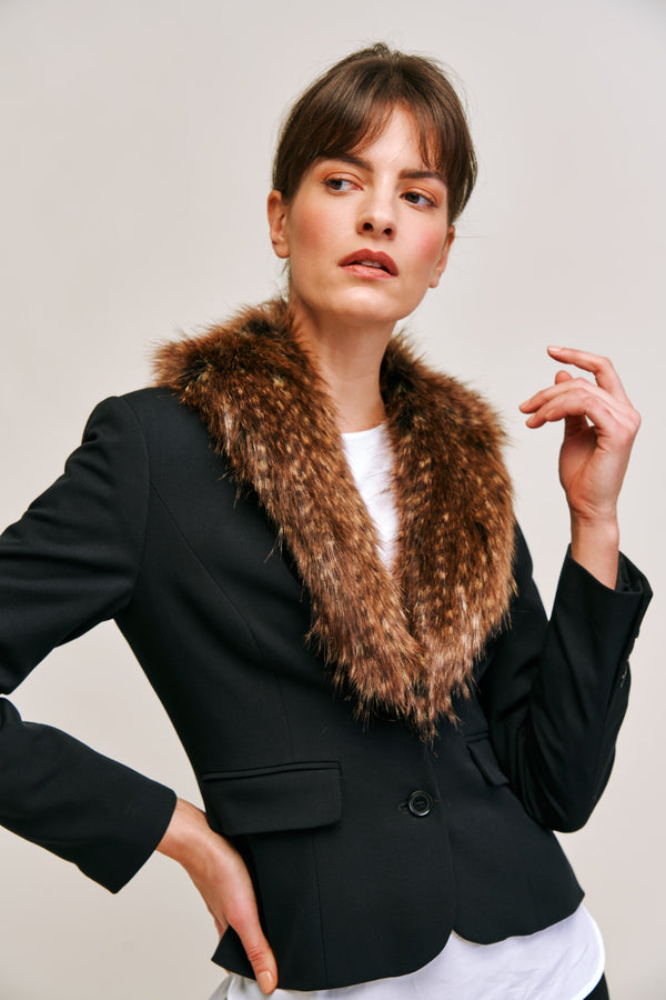 Model wearing brown faux fur long Collar by Helen Moore