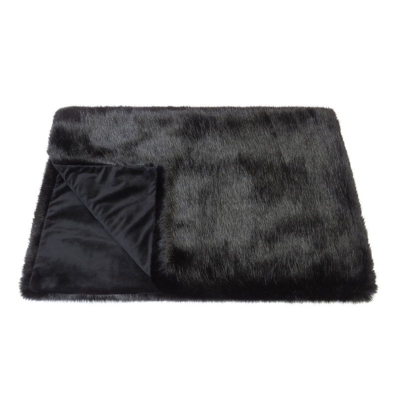 Jet black faux fur comforter throw by Helen Moore