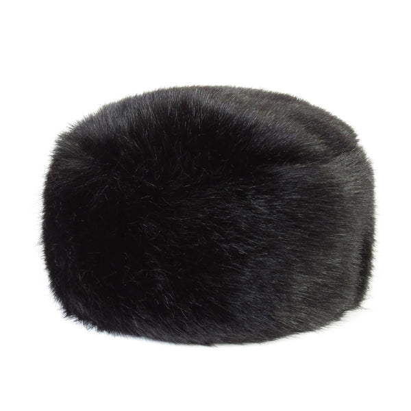 Jet  black faux fur pillbox hat by Helen Moore
