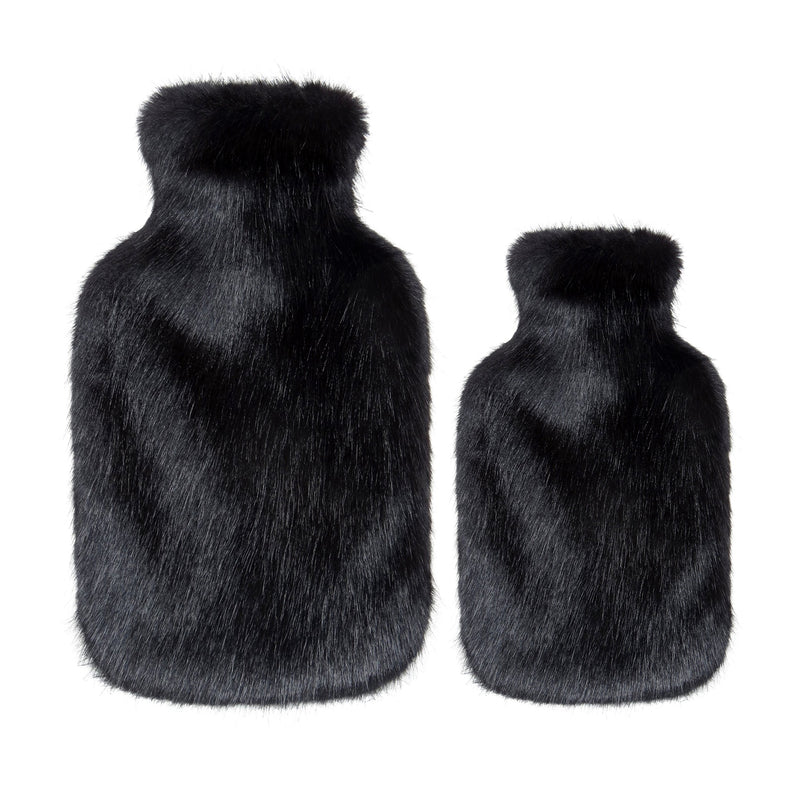Jet black faux fur hot water bottles- Available in 2 Sizes by Helen Moore