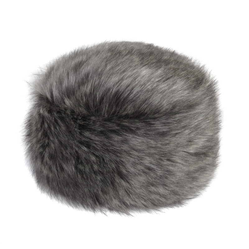 Grey  and black faux fur pillbox hat by Helen Moore