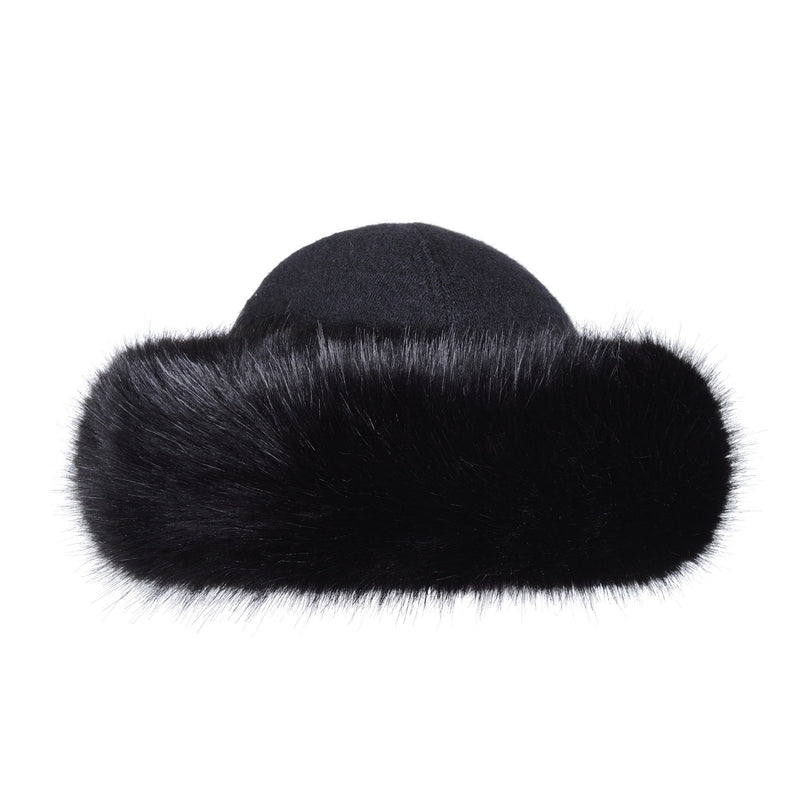 Jet Faux fur lara hat by Helen Moore