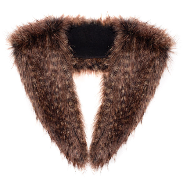 Brown faux fur long collar by Helen Moore