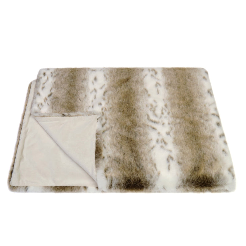 Light beige and white animal print faux fur comforter throw by Helen Moore