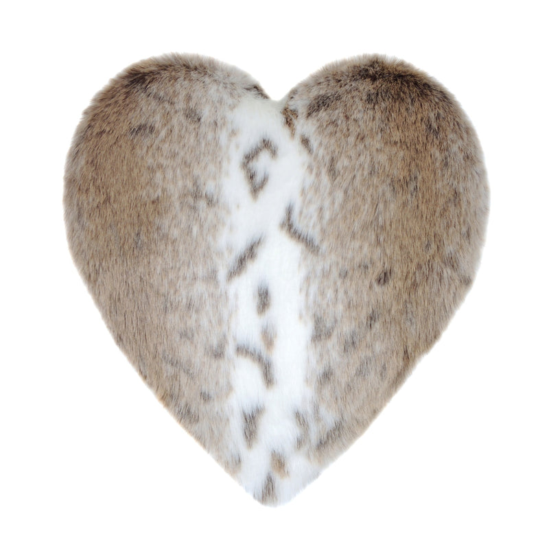 Light beige and white animal print faux fur heart shaped cushion by Helen Moore