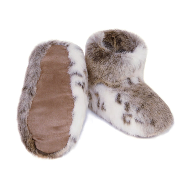 Light beige and white animal print faux fur slipper boots by Helen Moore