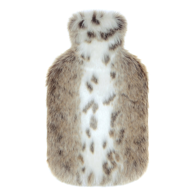 Light beige and white animal print faux fur hot water bottles- Available in 2 Sizes by Helen Moore