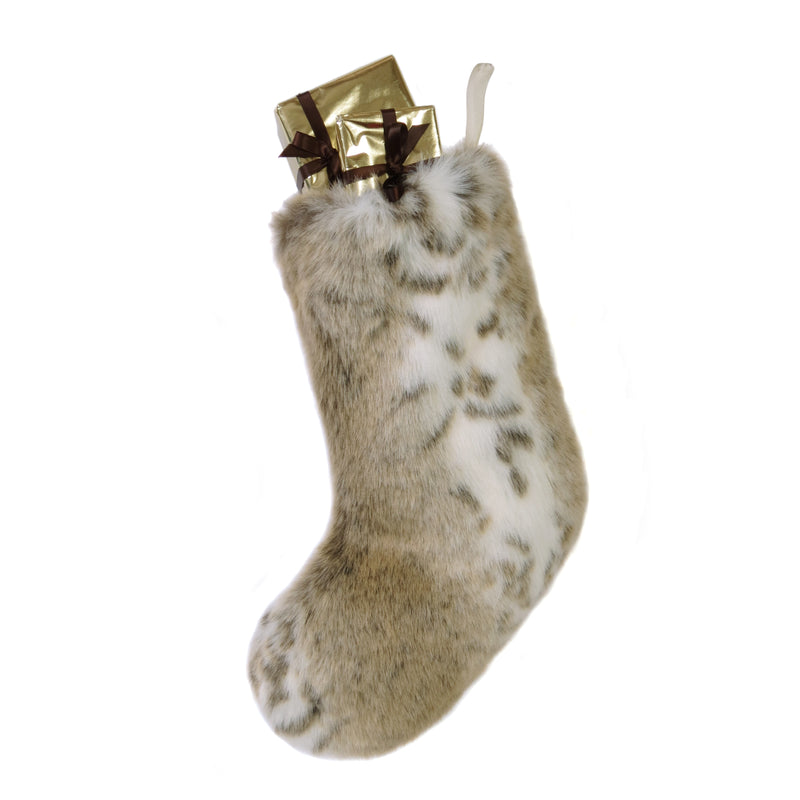Lynx faux fur Christmas stocking by Helen Moore