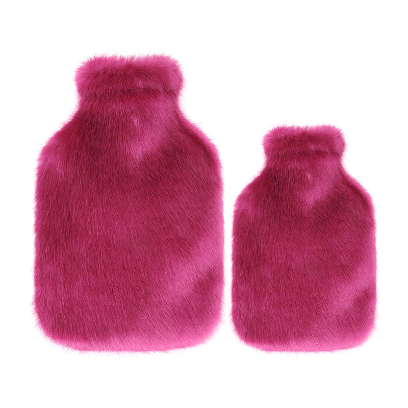 Bright pink faux fur hot water bottles- Available in 2 Sizes by Helen Moore