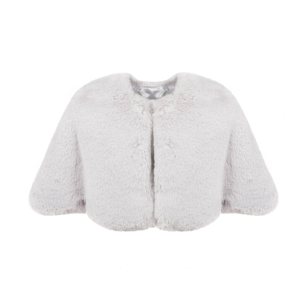 Swiss White Faux fur childrens short cape by Helen Moore