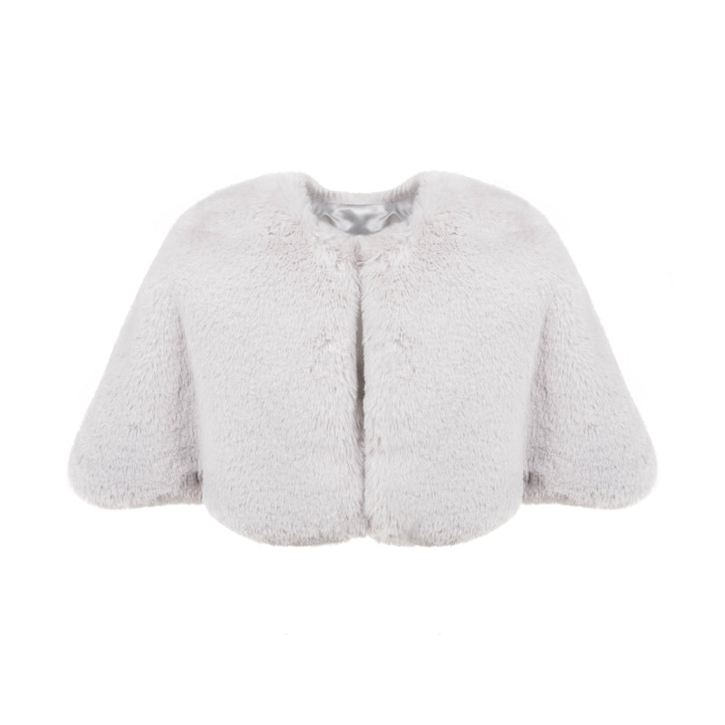 pale grey mist cloud faux fur children's short cape by Helen Moore