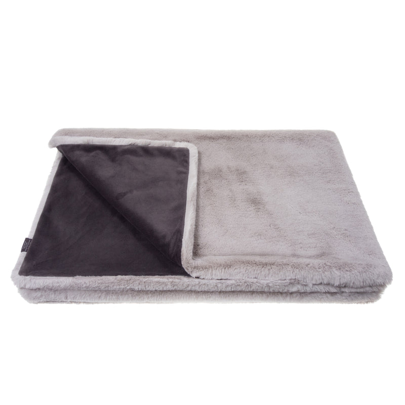 Light grey mist cloud faux fur comforter throw by Helen Moore