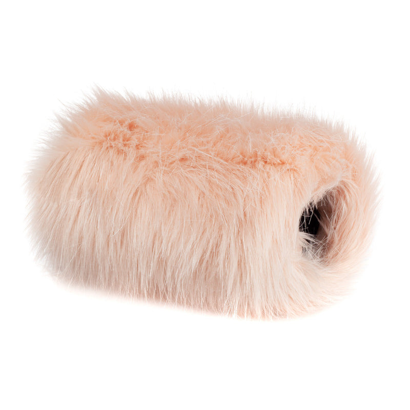 children's blush pink faux fur hand muff by Helen Moore