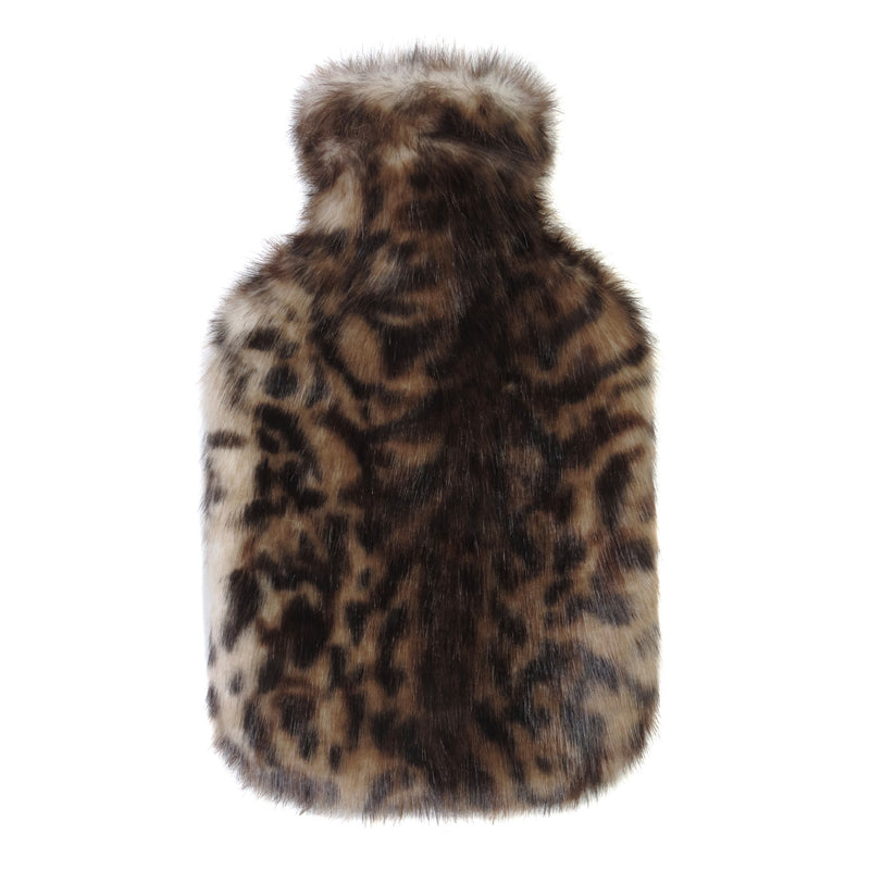 Brown animal print faux fur hot Water Bottle - Available in 2 Sizes by Helen Moore