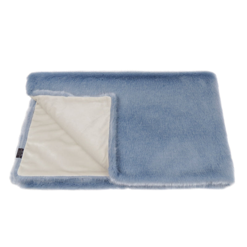 Light blue faux fur comforter throw by Helen Moore
