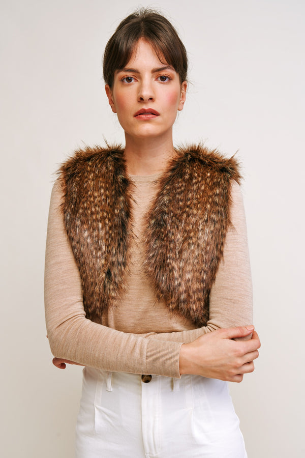 Faux fur shrug by Helen Moore