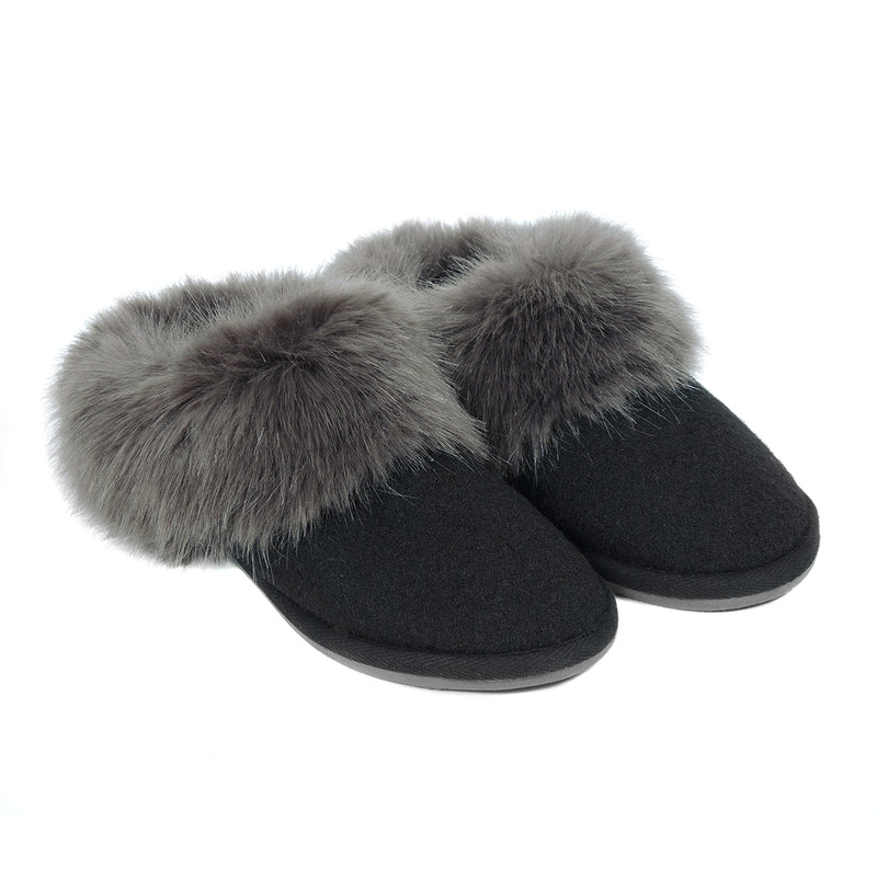 Faux fur mule slippers by Helen Moore