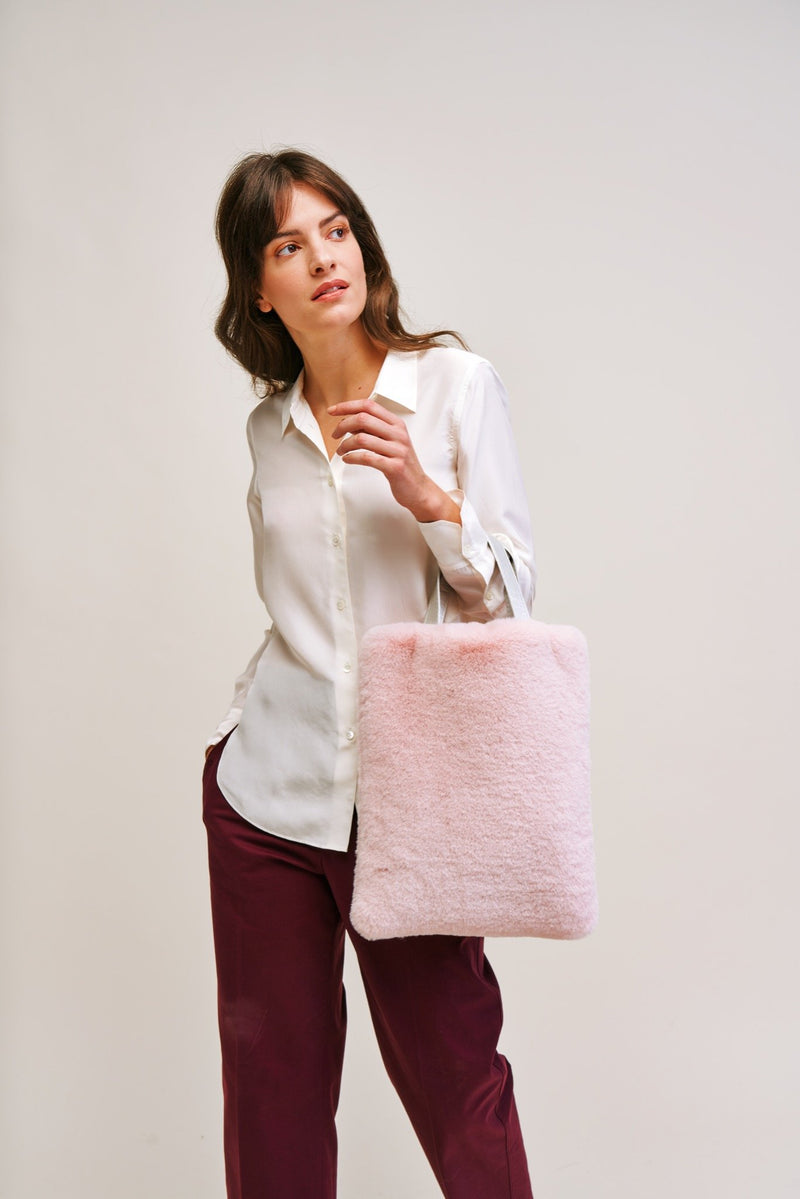 Blossom Cloud Faux fur tote bag by Helen Moore