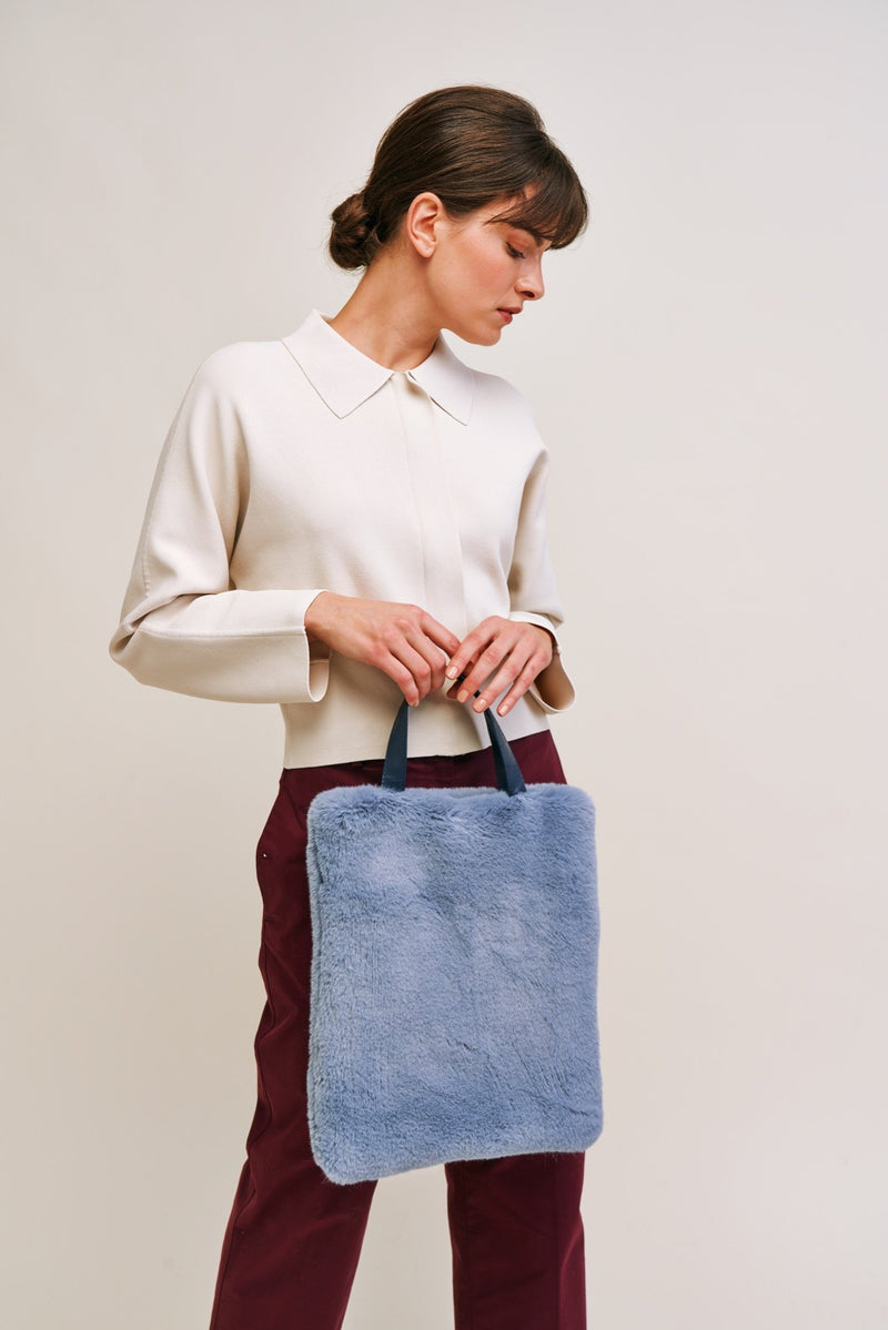 Haze Cloud Faux fur tote bag by Helen Moore