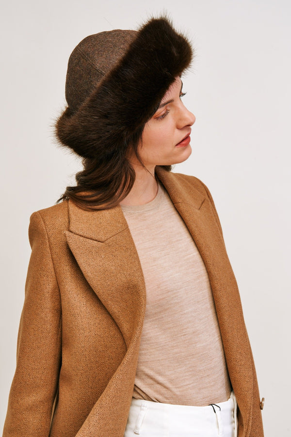 Treacle Faux fur lara hat by Helen Moore