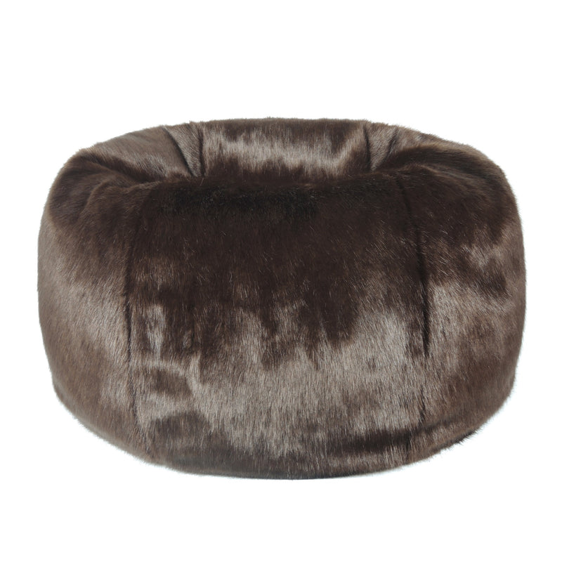 Treacle brown faux fur bean bag by Helen Moore
