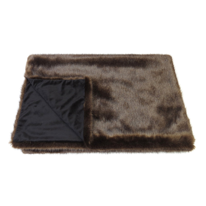 Dark brown Treacle colour faux fur comforter throw by Helen Moore