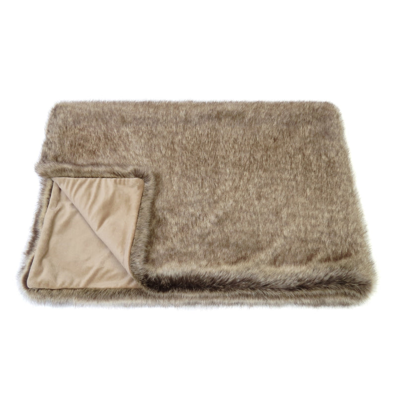 Mid brown Truffle  faux fur comforter throw by Helen Moore