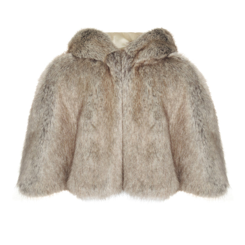 Mid brown Truffle faux fur hooded swing cape by Helen Moore